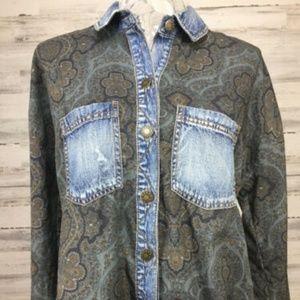 Free People Button Up Shirt Sz XS Denim Trim Blue